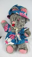 "VINTAGE EASTER BUNNY RABBIT LARGE BIG JUMBO 28""  PINK GRAY WEARING BONNET DRESS"