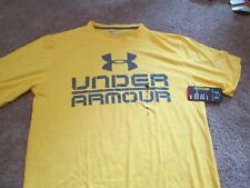 BRAND NEW Mens UNDER ARMOUR Heatgear ANTI-ODOR Yellow w/ Gray Under Armour LG