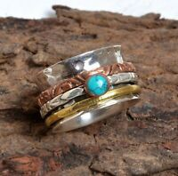 Turquoise Stone Solid 925 Sterling Silver Spinner Ring Meditation Ring sr8998