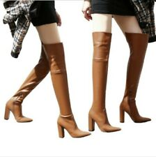 Retro Women's Punk Pointy Toe Block High Heel Over The Knee High Knight Boots L