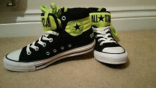 *BRAND NEW* LIMITED EDITION BLACK/ NEON.CLASSIC CONVERSE HIGHTOP SNEAKERS UK6/39