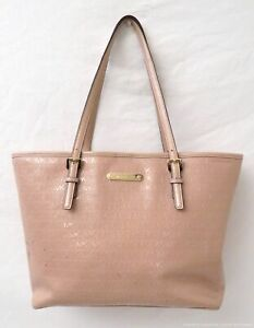 Michael Kors Blush Debossed Patent Leather Tote Bag Purse