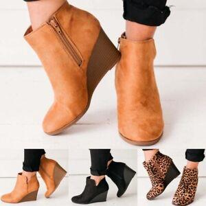 Women's Wedge Heel Platform Ankle Boots Side Zip Suede Booties Winter Warm Shoes