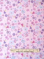 Fairy Fabric - Princess Flowers Fairies Pink CM3816 Timeless Treasures - YARD