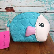 Betsey Johnson Fish Face Makeup Bag Cosmetic Travel Zipper Quilt Pouch Novelty