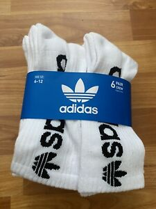 6 PAIRS ADIDAS MENS 6-12 WHITE CREW BIG BLACK LOGO CUSHIONED SOCKS NWT