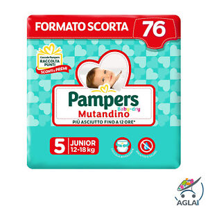 Pampers Baby Dry Mutandino 76 Pannolini Taglia 5 Junior 12-18kg Extraconvenienza