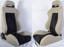 NEW 2 GRAY & BLACK RACING SEATS RECLINABLE + SLIDERS ALL BUICK ***