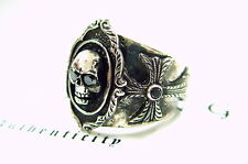Black Diamond Men's Silver Skull & Cross Ring by Sacred Angels