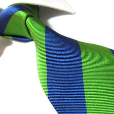 "XL 100% Silk Woven Tie Green/Blue Stripe Necktie SW2004 XL 63"" Extra Long"
