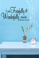 Psalm 139:14 Bible Verse Vinyl Wall Stickers Decals Scripture Quote Word Decor