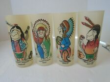 Old Vntage 50s Indian Warrior Frosted Glass Tumbler Bill T Flores 4 glass set