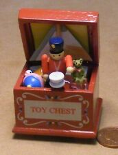 1:12 Scale Red Painted Filled Wooden Toy Chest Tumdee Dolls House Miniature Box
