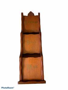 VTG Wooden Mail Organizer Bill Letter Holder with Key Hooks wall mount heavy