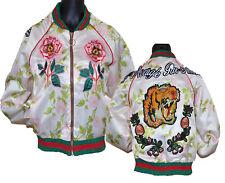 New Rose Flower Tiger Embroidered Patch Bomber Jacket Coat Lady Fashion Designer
