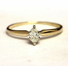 14k yellow gold .20ct marquise diamond solitaire engagement ring 1.2g estate