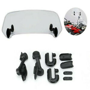 Motorcycle Adjustable Clip On Windshield Extension Spoiler Wind Deflector Clear