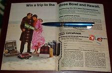 1974 SYLVANIA LIGHTBULB SWEEPSTAKES AD~WIN A ROSE BOWL TRIP & HAWAII VACATION