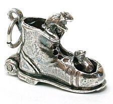 Plata esterlina pequeña anciana en Nursery Rhyme del encanto del zapato T9EU6py