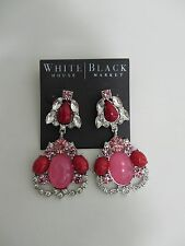 WHBM costume jewelry silver tone large drop earrings red pink clear rhinestones
