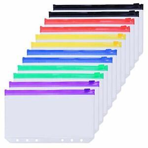 12pcs A6 Binder Pockets 6 Hole Punched Pockets PVC Cash Envelopes Note Refils