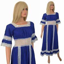 Hippy Boho Maxi Dress CROCHET Cage Cutout PINTUCK Vtg 60s Hipster Mexican Blue