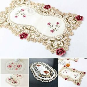1 Pcs Lace Fabric Embroidered Tablecloth Flower Hollow Coffee Table Cloth Doily