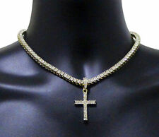 Iced Cross Pendant Medallion Tennis Necklace Set 14k Gold Plated Hip Hop Jewelry