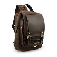 Men's Real Leather Backpack Sling Bag Chest Pack Shoulder Bag Crossbody Bag