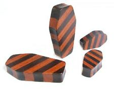 "PAIR-Wood Coffin Striped Double Flare Plugs 12mm/1/2"" Gauge Body Jewelry"
