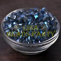 25pcs 6mm Cube Square Faceted Crystal Glass Loose Spacer Beads Grayish Blue