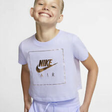 Nike Air NSW Crop DOP Top Tee T-shirt Girl's Light Purple / Gold CI8275-539 NEW