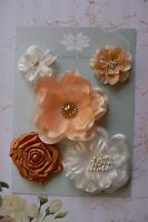 APRICOT & IVORY Fabric Mixed 5 Flowers 35-65mm across Green Tara Box E