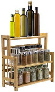 Bamboo Spice Rack Organizer - Kitchen Bathroom Countertop Display & Storage Rack