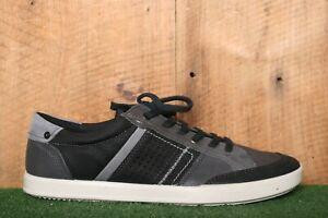 ECCO 'Collin 2.0' Black & Gray Leather & Canvas Fashion Sneakers EUR 46 | US 12