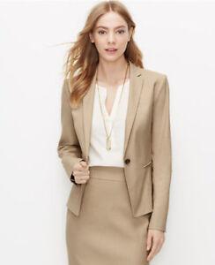 Ann Taylor - Petite 00P Beige Linen Blend One-Button Jacket $169.00 NWT (H)