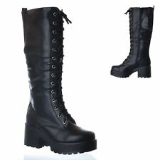 NEW LADIES WOMENS KNEE HIGH CHUNKY PLATFORM MID BLOCK HEEL LACE UP ZIP UP BOOTS