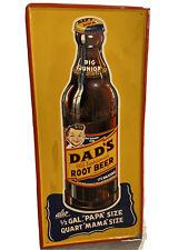 """RARE Vintage Antique 1940s/50s Self framed Dad's Root Beer """"junior size"""" sign"""