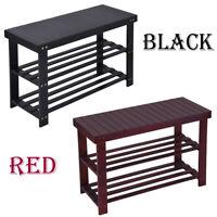 3-Tier Bamboo Shoe Rack Bench Storage Shelf Organizer Entryway Home Furni Coffee
