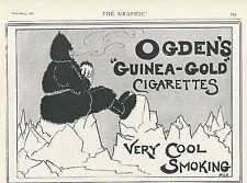 OLD ANTIQUE ADVERT OGDEN'S GUINEA GOLD CIGARETTES 1898 MAN IN FUR SUIT ON ICE