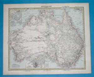 1890 DETAILED ORIGINAL MAP AUSTRALIA NEW SOUTH WALES SYDNEY MELBOURNE CANBERRA