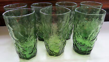 Vintage Green Seneca Morgantown Driftwood Crinkle Glass Tall Tumblers Set of 7