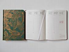 Taschenkalender 2020, 1 Woche auf 2 Seiten, A6, Grün Blätter Golddruck, Timer