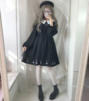 Harajuku Lolita Japanese Long Sleeve Christian Cross Gothic Hexagram Dress #