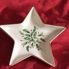 Lenox Dimension Holiday Christmas Star Holly China Candy Dish