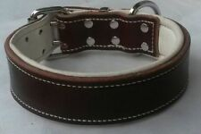 Large Brown Leather Dog Collar & Soft Pure White Leather Padded Inner Lining