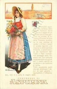 Cartolina di Firenze, pubblicità Aspirina / illustratore Pomi