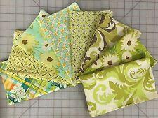 OOP Sandi Henderson Meadowsweet Fabric Fat Quarter Bundle in Green and Blue