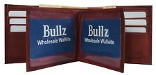 Bifold Leather Mens Wallet Credit Card-ID Holder-Doubles Bills Compartment