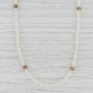 "New Nina Nguyen Moonstone Bead Necklace Sterling Gold Vermeil Adjustable 38.5"""